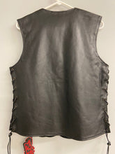 Load image into Gallery viewer, ZIR Colt Black Leather Womens Biker Vest Size L NWT
