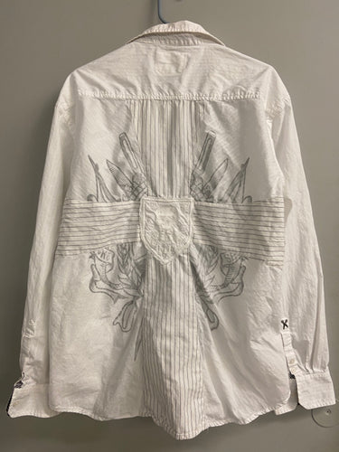 Marc Ecko Sz XXL Mens White Cotton Long Sleeve Shirt Back Print Embroidered