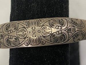 Sterling Bangle Bracelet Ethnic Etched Design
