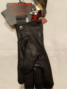 ZIR Black Leather Riding Gloves Womens Sz Med NWT 3301-2854