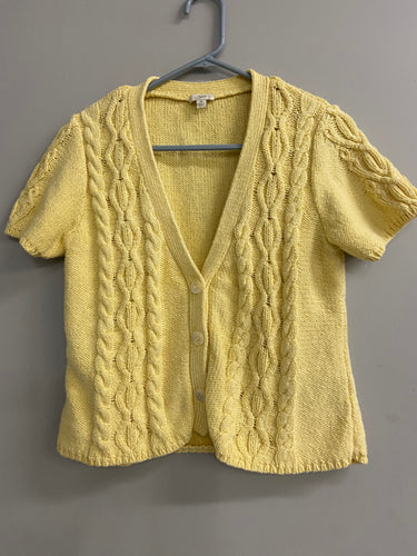 J Jill Size M Yellow Short Sleeve Cardigan Sweater Cotton Rayon