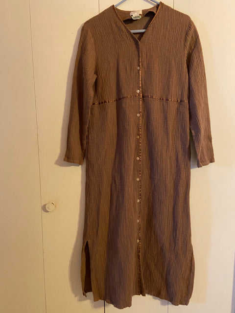 J. Jill Gauze Cotton Blend Long Dress Size M Taupe
