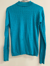 Load image into Gallery viewer, Jos. A. Bank Womens Turquoise Sweater Cables Sz M Cotton Rayon