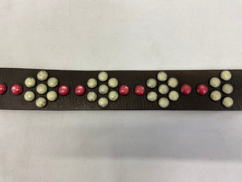 Paul Smith Brown Leather Belt sz 40 Red Cream Stones Western