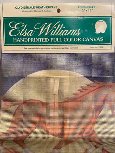 Elsa Williams Clydesdale Weathervane 23261 Needlepoint Canvas 12x12""