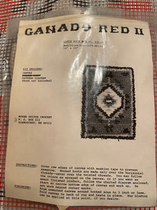 Latch Hook Rug Pillow Hanging Canvas Only  Ganado Red II 14x20""