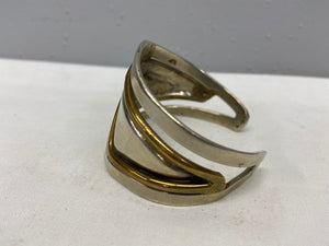 Silver and Brass Contemporary Style Cuff Bracelet