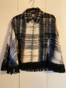 Andrew Stewart Black & White Plaid Mohair Cape Woven Scotland