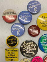 Load image into Gallery viewer, Retro Pins Liberal Womens Pro Democratic Jazz 14 Piece Lot