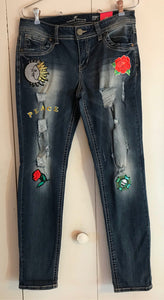 Almost Famous Jr Size 11 Skinny Leg Distressed Peace Hippie Patches