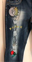 Load image into Gallery viewer, Almost Famous Jr Size 11 Skinny Leg Distressed Peace Hippie Patches