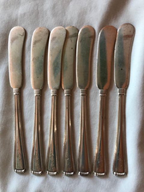 Antique Van Heusen Charles Co Set Lot 7 Sterling Butter Knives