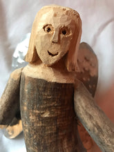 Load image into Gallery viewer, Carved Wood Angel Tin Wings