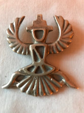 Load image into Gallery viewer, Eagle Dancer Brooch Pin Sand Cast Sterling Silver