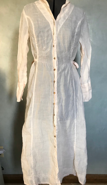 Kleen Ramie Size S Long Button Front Dress or Lingerie Pale Peach