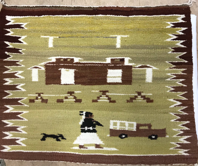 Navajo Pictorial Weaving Rug 1940's