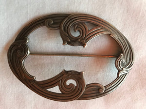 Oval Scroll Design Sterling Silver Brooch Pin