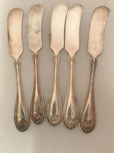 R. Wallace Set of 5 Silverplate Butter Knives Stuart