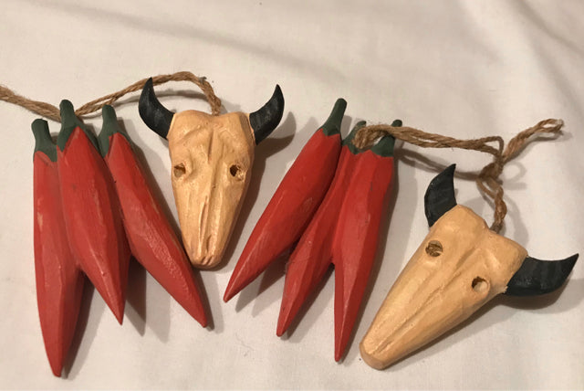 Southwest Chile Peppers & Steer Head Wood Ornaments Set of 4