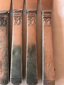 Sterling Handles Stainless Blade set of 8 Dinner Knives Antique