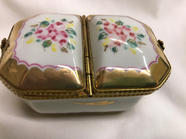 Vingtage Limoges Trinket box Gold & Flowers 2 Hinged lids Fini Main