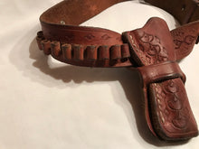 Load image into Gallery viewer, Vintage Small Tooled Leather Holster Ammo Belt