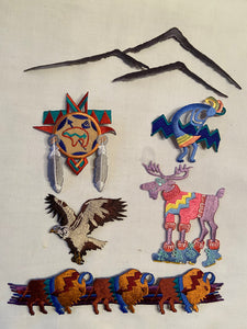 Embroidered Iron On Patches Lot of Six Southwest Designs