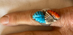 Sterling Silver Ring Turquoise and Coral Vintage
