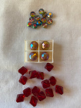 Load image into Gallery viewer, Vintage Red Peach & Rainbow Swarovski Crystal Beads Lot #17