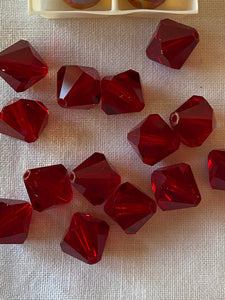 Vintage Red Peach & Rainbow Swarovski Crystal Beads Lot #17