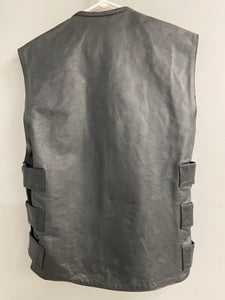 River Road Black Leather Mens Small Biker Vest NWT