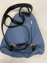 Load image into Gallery viewer, Baggallini Convertible Metro Sling  Backpack Purse Blue Gray