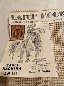 Latch Hook Rug Canvas Only Decortive Woods Inc Eagle Kachina 22x34""