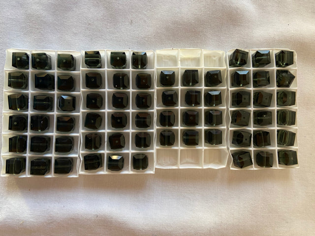 Vintage Swarovski Crystal Cube 8mm Beads Morion 66 pcs Lot #7