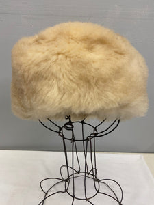 Womens Sheepskin Fur Vintage Pilbox Cossack Style Hat