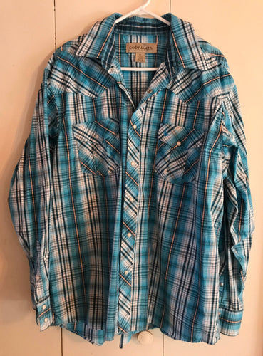 Cody James Western Snap Long Sleeve Cotton Shirt Size XL