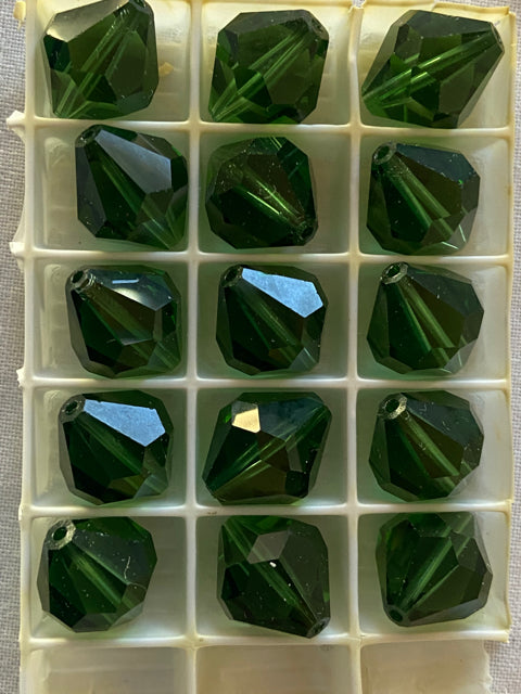 Vintage Swarovski Crystal Green Bicone Beads 15 pcs Lot #14