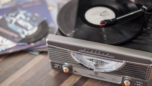 i360 Classic Retro Turntable Vinyl Record Player in Grey