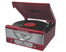 i360 Classic Retro Turntable Vinyl Record Player in Red