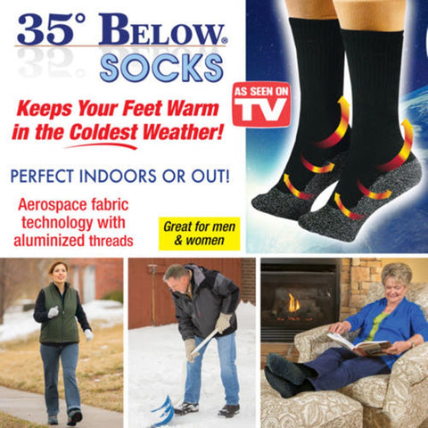 New 35 Below Socks Keep Your Feet Warm and Dry As Seen on TV Aluminized Fibers