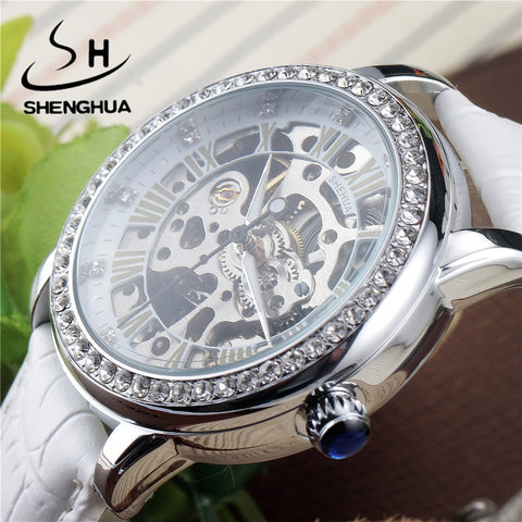 Skeleton Sapphire Crystal Women Mechanical Watch (REF2532)