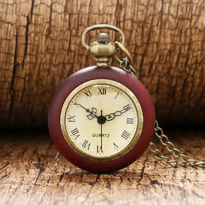 Wood Circle Around Fish Eye Clear Glass Ball Pocket Watch With Chain P13