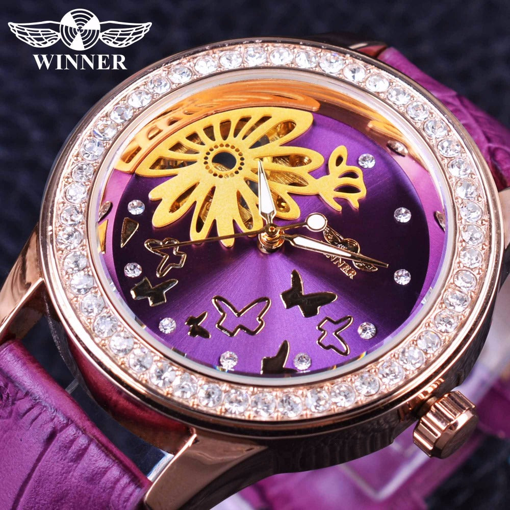 Winner Fashion Purple Band Flower Dial Display Ladies Wristwatch (REF5204)