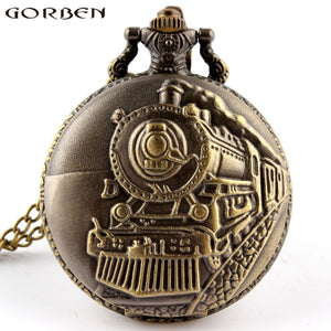 Unique Retro Bronze Train Front Locomotive Engine Design Necklace Pendant Quartz Pocket Watch