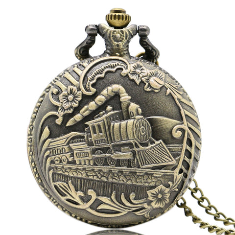 Vintage Bronze Train Front Locomotive Engine Necklace Quartz pedent gift  Pocket Watch Chain (REF 9005)
