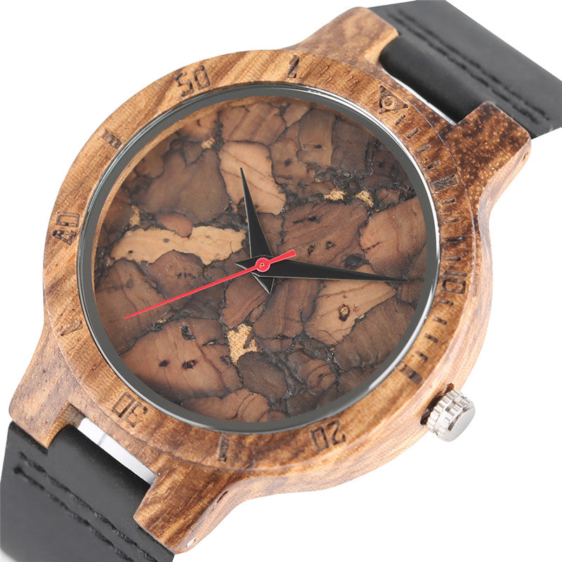 Stylish Les Feuilles Mortes Pattern Face Unisex Wooden Wristwatch (REF1133)