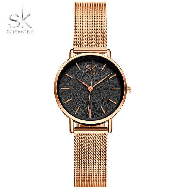 SK Super Slim Sliver Mesh Stainless Steel Womens Wristwatch (REF1123)