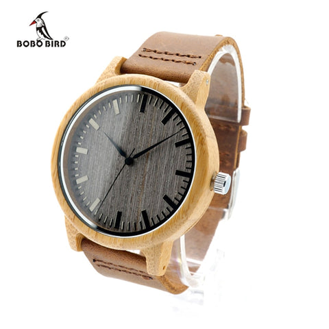 BOBO BIRD Leather Band Mens Luxury Quartz Bamboo Wristwatch (REF1023)