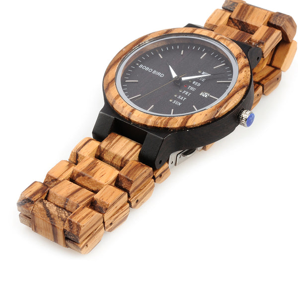 BOBO BIRD Mens Wooden Wristwatch, Week Display, Date, (REF1029)