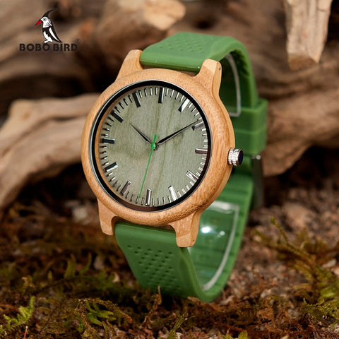 BOBO BIRD Bamboo Wristwatch for Women Silicone Strap (REF1020)